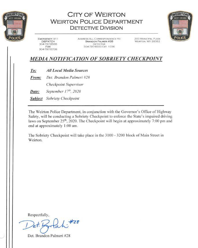 Sobriety Checkpoint Notification