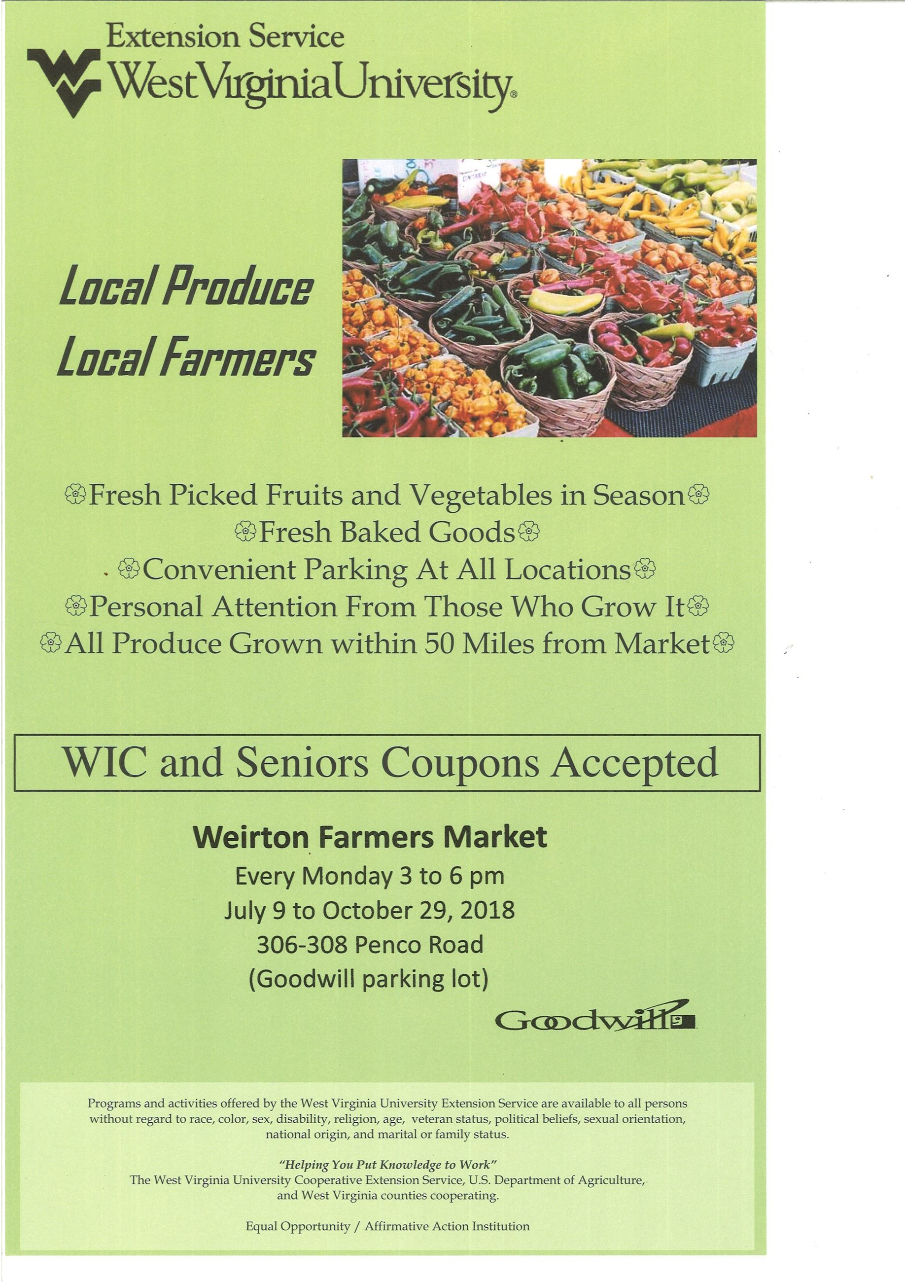 Weirton Farmers Market July9-Oct.29
