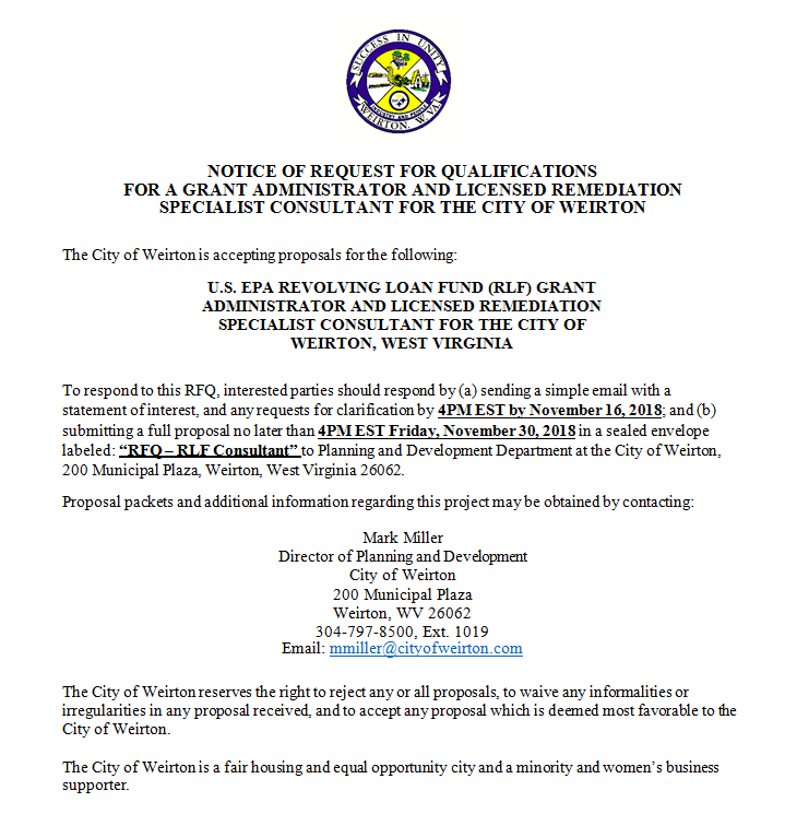 Request For Qualifications   Weirton, WV